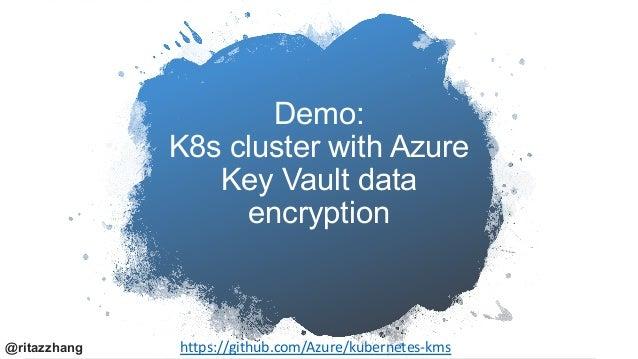 Azure Key Vault KMS plugin • Use a key, HSM (hardware security module) -protected, in Key Vault for etcd encryption • Secr...