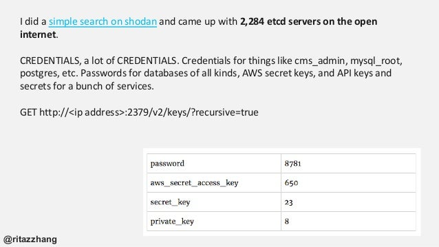 I did a simple search on shodan and came up with 2,284 etcd servers on the open internet. CREDENTIALS, a lot of CREDENTIAL...