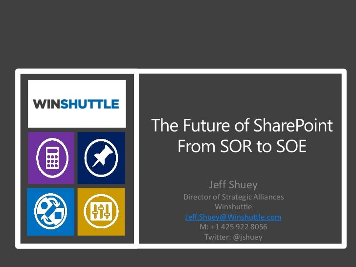 Jeff ShueyDirector of Strategic Alliances         WinshuttleJeff.Shuey@Winshuttle.com     M: +1 425 922 8056      Twitter:...