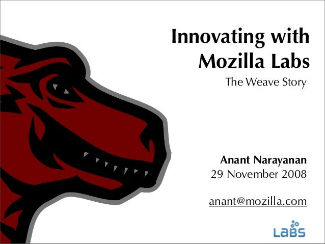 Innovating with Mozilla Labs The Weave Story  Anant Narayanan 29 November 2008 anant@mozilla.com