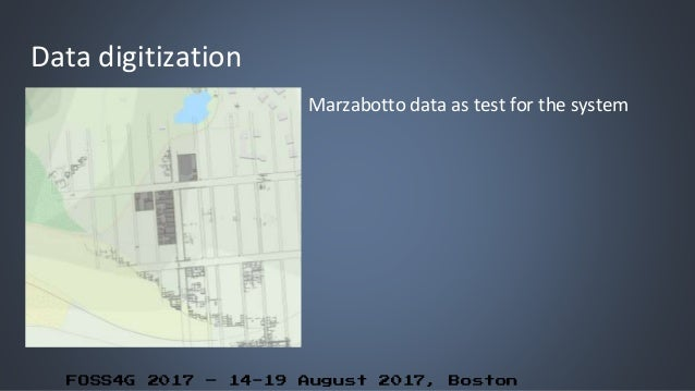 FOSS4G 2017 – 14-19 August 2017, Boston Data digitization Marzabotto data as test for the system
