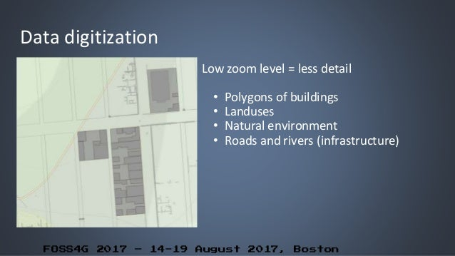 FOSS4G 2017 – 14-19 August 2017, Boston Data digitization Low zoom level = less detail • Polygons of buildings • Landuses ...