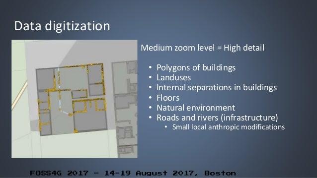FOSS4G 2017 – 14-19 August 2017, Boston Data digitization Medium zoom level = High detail • Polygons of buildings • Landus...