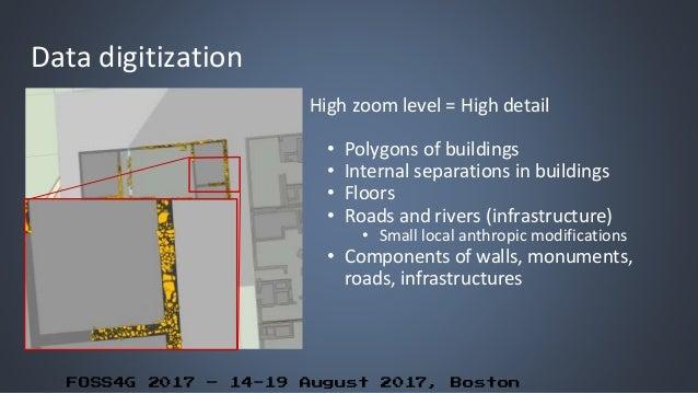 FOSS4G 2017 – 14-19 August 2017, Boston Data digitization High zoom level = High detail • Polygons of buildings • Internal...