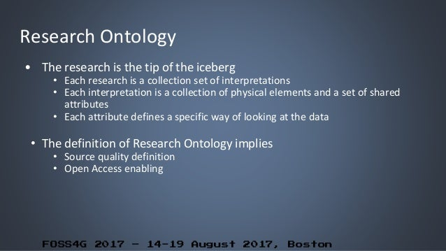 FOSS4G 2017 – 14-19 August 2017, Boston Research Ontology • The research is the tip of the iceberg • Each research is a co...