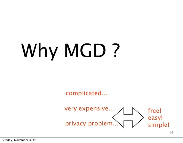 Why MGD ?                         complicated...                         very expensive...    free!                       ...