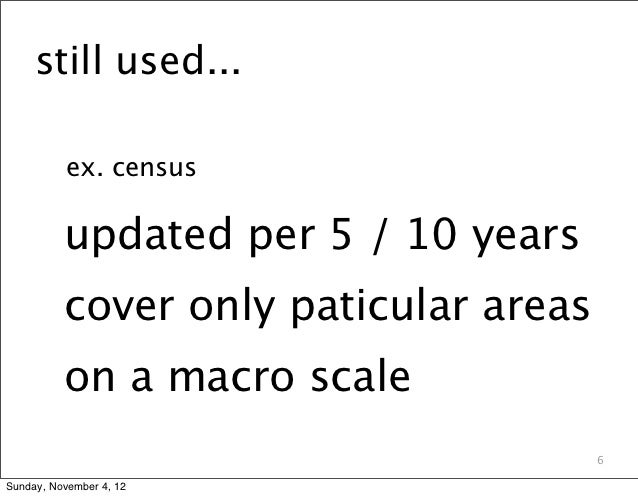 still used...          ex. census          updated per 5 / 10 years          cover only paticular areas          on a macr...