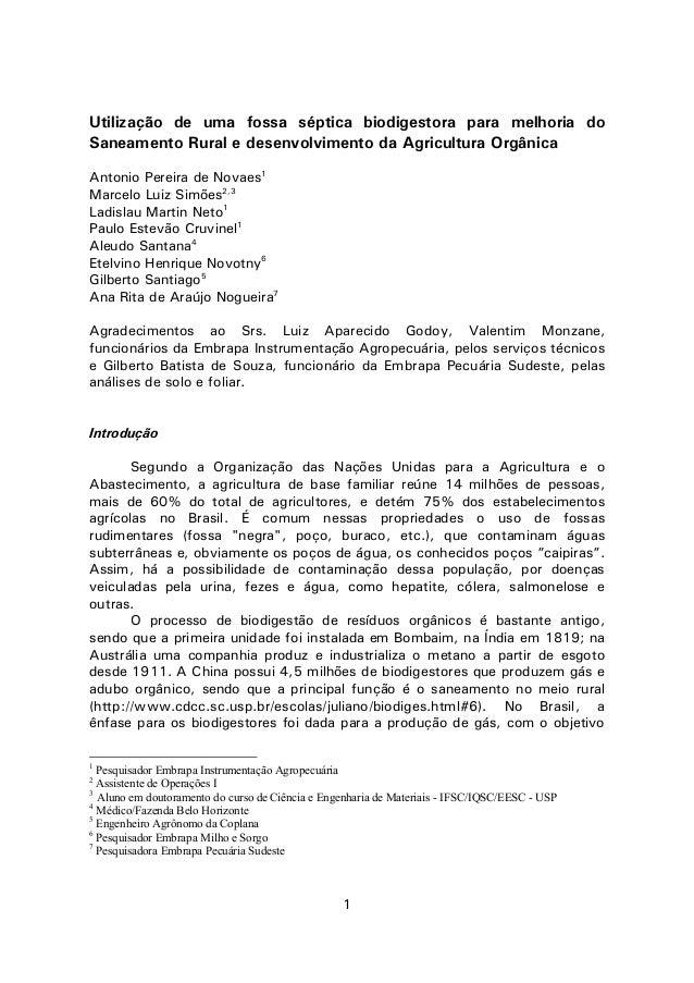 1Utilização de uma fossa séptica biodigestora para melhoria doSaneamento Rural e desenvolvimento da Agricultura OrgânicaAn...