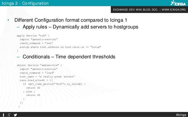 EXCHANGE. DEV. WIKI. BLOG. DOC. | WWW.ICINGA.ORG #icinga Icinga 2 - Configuration • Different Configuration format compare...