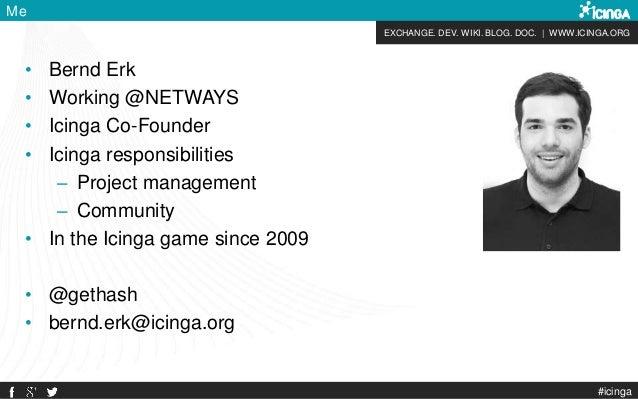 EXCHANGE. DEV. WIKI. BLOG. DOC. | WWW.ICINGA.ORG #icinga Me • Bernd Erk • Working @NETWAYS • Icinga Co-Founder • Icinga re...
