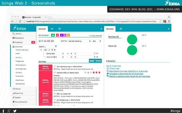 EXCHANGE. DEV. WIKI. BLOG. DOC. | WWW.ICINGA.ORG Icinga Web 2 - Screenshots #icinga