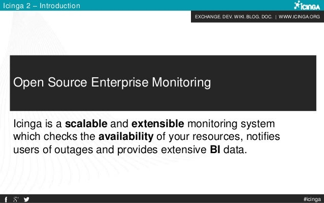 EXCHANGE. DEV. WIKI. BLOG. DOC. | WWW.ICINGA.ORG Icinga 2 – Introduction #icinga Open Source Enterprise Monitoring Icinga ...
