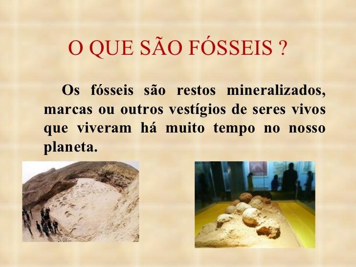O QUE SÃO FÓSSEIS ? <ul><li>Os fósseis são restos mineralizados, marcas ou outros vestígios de seres vivos que viveram há ...