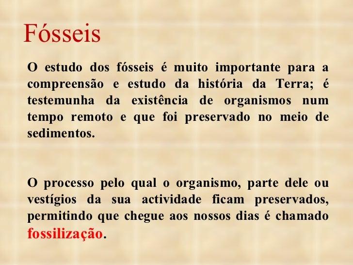 Fósseis O estudo dos fósseis é muito importante para a compreensão e estudo da história da Terra; é testemunha da existênc...