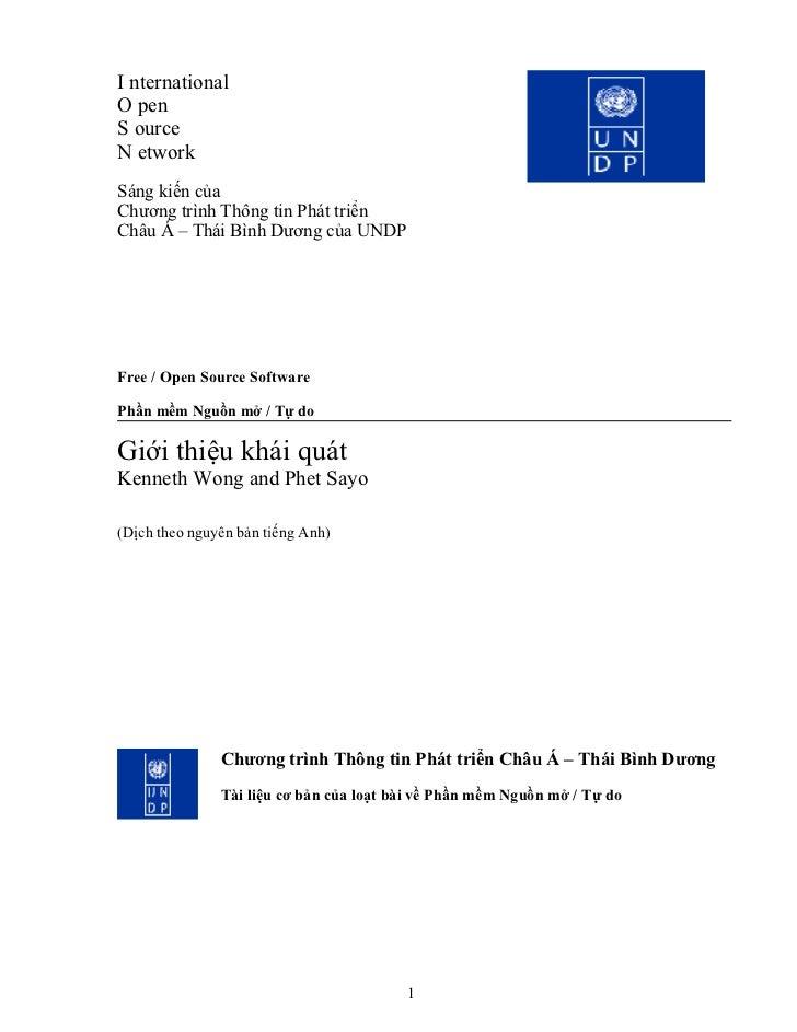 I nternational O pen S ource N etwork Sáng kiến của Chương trình Thông tin Phát triển Châu Á – Thái Bình Dương của UNDP   ...