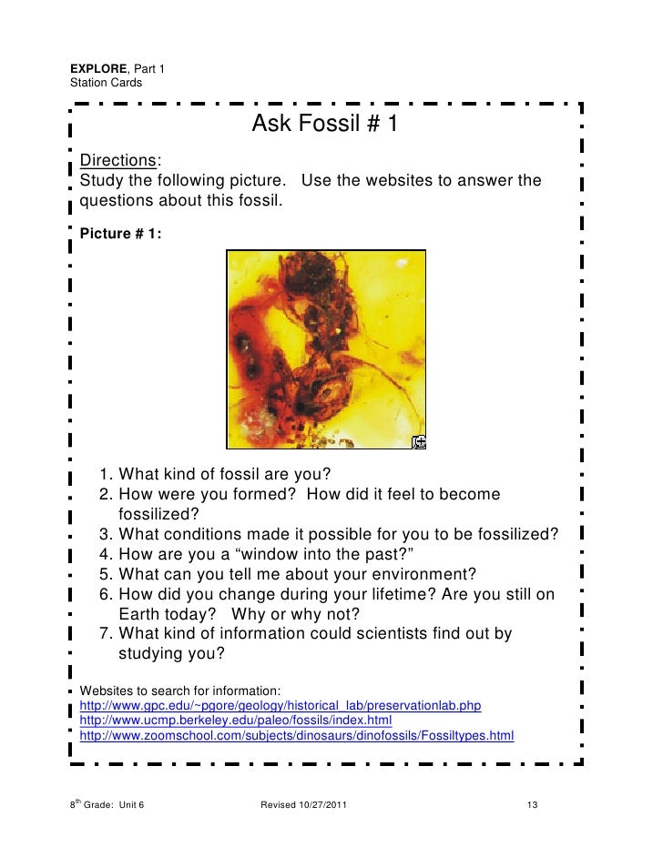 EXPLORE, Part 1Station Cards                              Ask Fossil # 1  Directions:  Study the following picture. Use th...