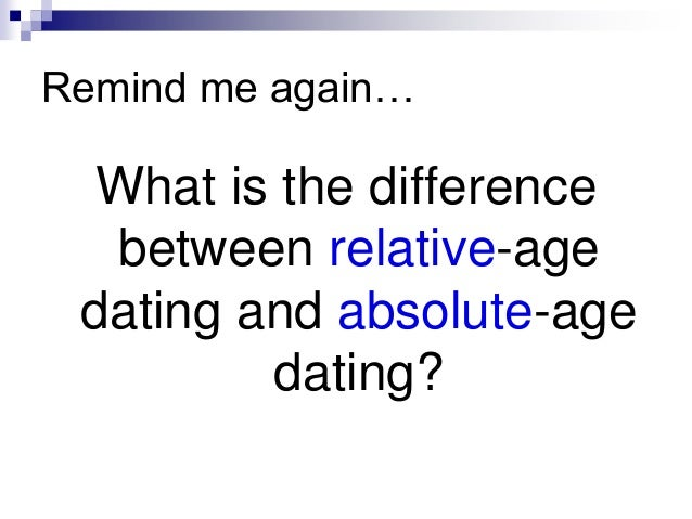 what is the difference relative dating and absolute dating