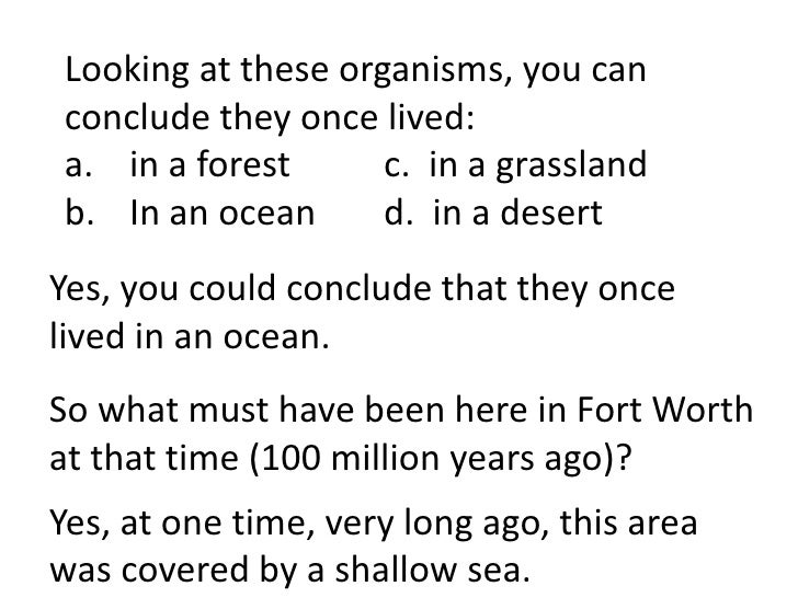Looking at these organisms, you canconclude they once lived:a. in a forest      c. in a grasslandb. In an ocean      d. in...