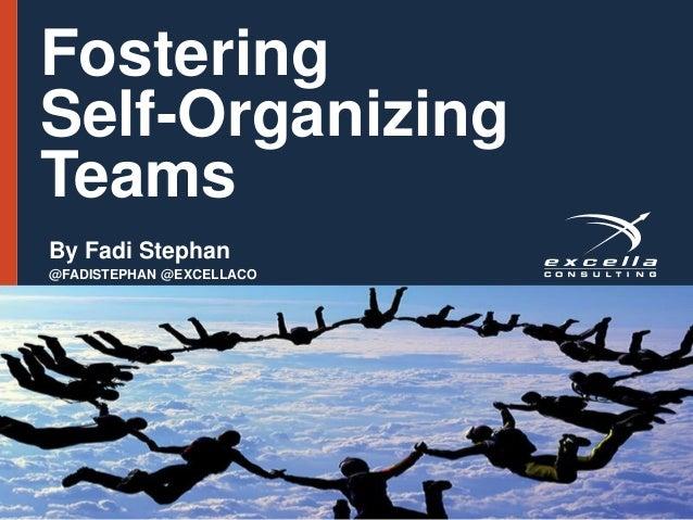Fostering Self-Organizing Teams By Fadi Stephan @FADISTEPHAN @EXCELLACO