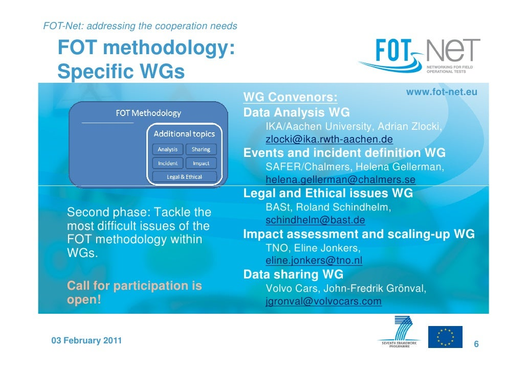 FOT-Net: addressing the cooperation needs   FOT methodology:   Specific WGs                                               ...