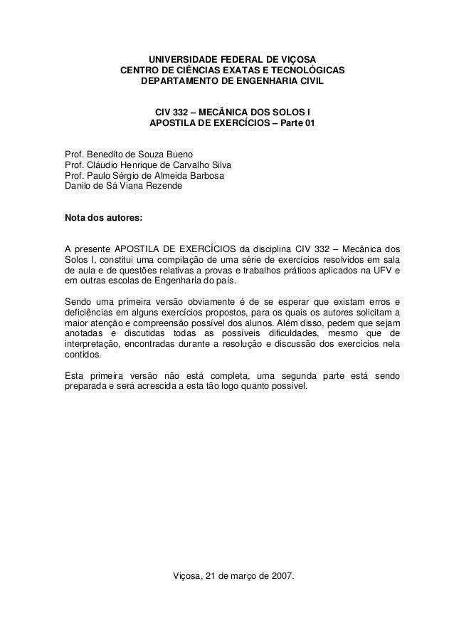 UNIVERSIDADE FEDERAL DE VIÇOSA CENTRO DE CIÊNCIAS EXATAS E TECNOLÓGICAS DEPARTAMENTO DE ENGENHARIA CIVIL CIV 332 – MECÂNIC...