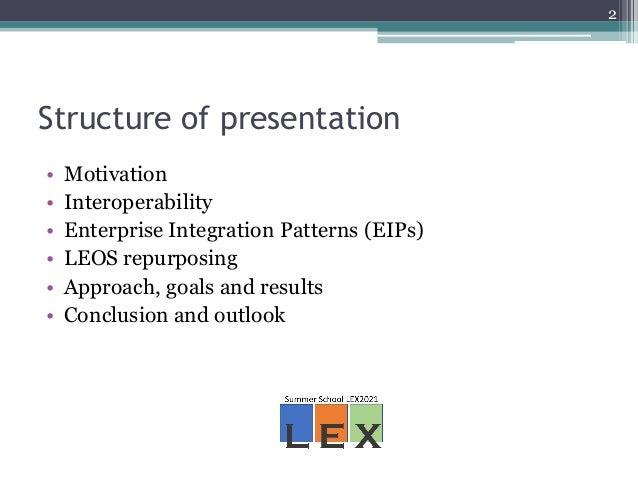 Advancements in legal interoperability through LEOS repurposing - the merit of AKN and Enterprise Integration Patterns Slide 2