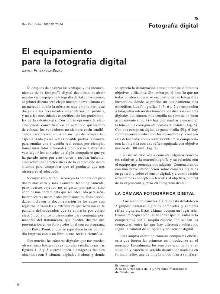 Fernández-Bozal J: El equipamiento para la fotografía digital                                                        75   ...