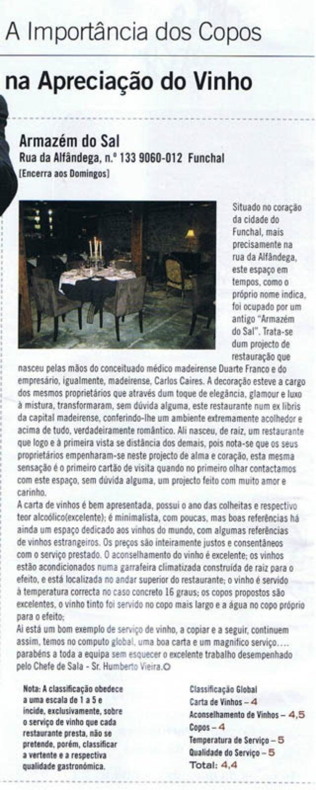 """""""A importancia dos Copos"""" in Revista Saber - Agosto de 2007"""