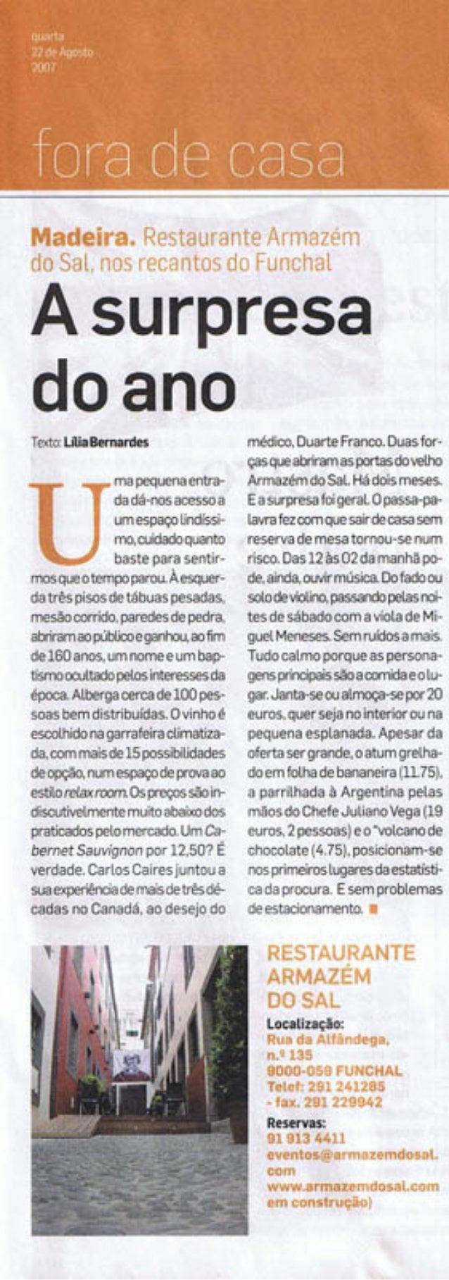 A Surpresa do Ano in Diário de Notícias da Madeira - Agosto de 2007