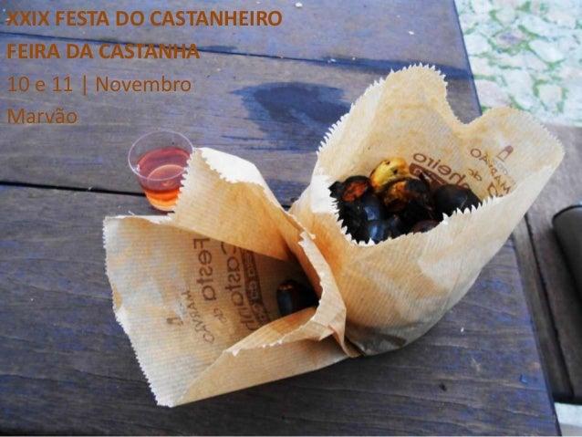 XXIX FESTA DO CASTANHEIROFEIRA DA CASTANHA10 e 11 | NovembroMarvão