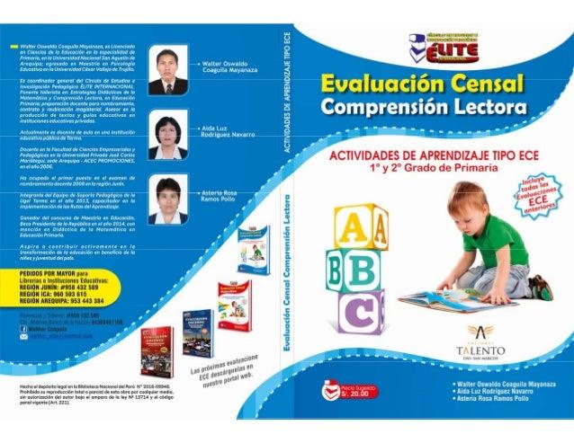 EVALUACIÓN CENSAL COMPRENSIÓN LECTORA Actividades de Aprendizaje tipo ECE Incluye todas las Evaluaciones ECE anteriores co...