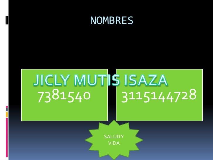 NOMBRES     7381540         3115144728            SALUD Y            VIDA