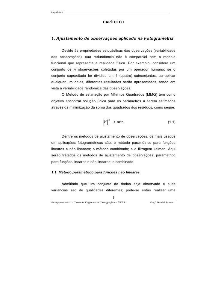 Capítulo I                                           CAPÍTULO I    1. Ajustamento de observações aplicado na Fotogrametria...