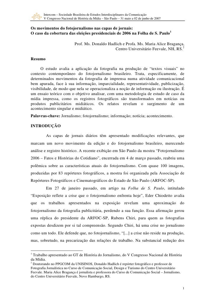 Intercom – Sociedade Brasileira de Estudos Interdisciplinares da Comunicação         V Congresso Nacional de História da M...