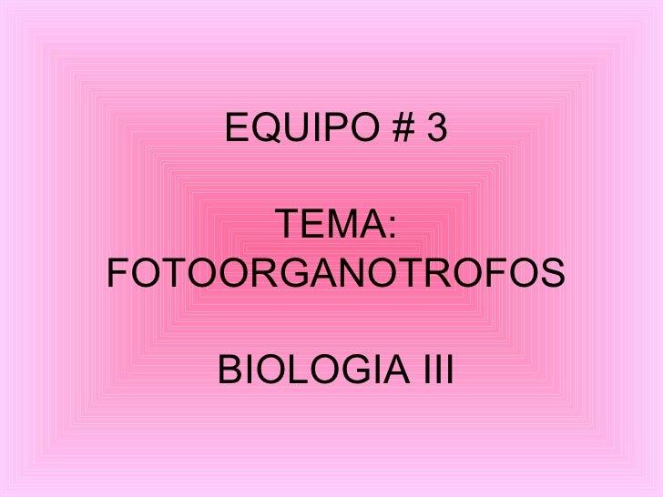EQUIPO # 3 TEMA: FOTOORGANOTROFOS BIOLOGIA III