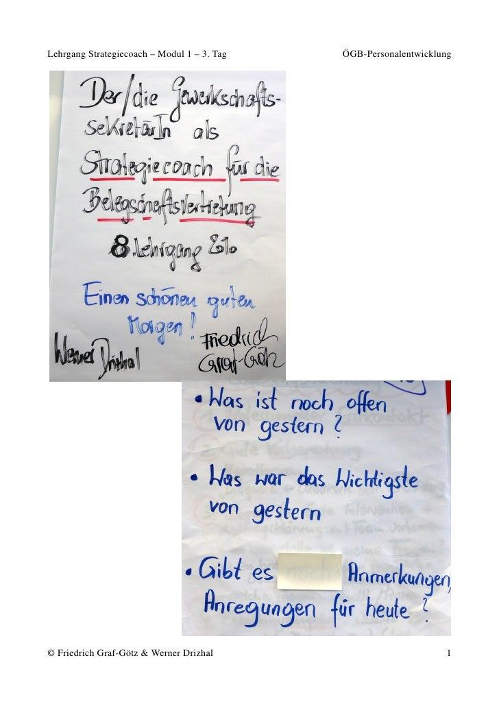 Lehrgang Strategiecoach – Modul 1 – 3. Tag   ÖGB-Personalentwicklung     © Friedrich Graf-Götz & Werner Drizhal           ...