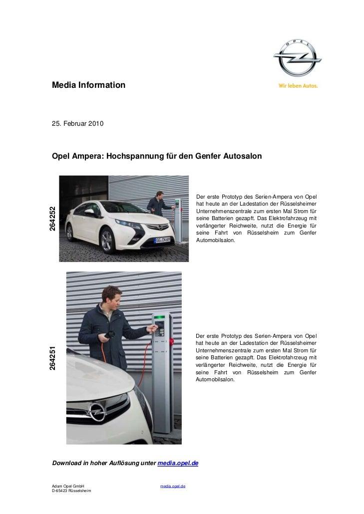 Media Information  25. Februar 2010  Opel Ampera: Hochspannung für den Genfer Autosalon                                   ...