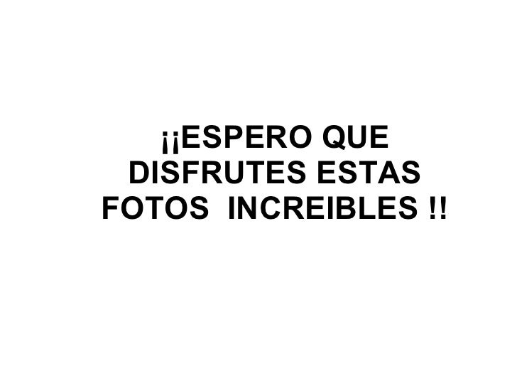 ¡¡ESPERO QUE DISFRUTES ESTAS FOTOS  INCREIBLES !!