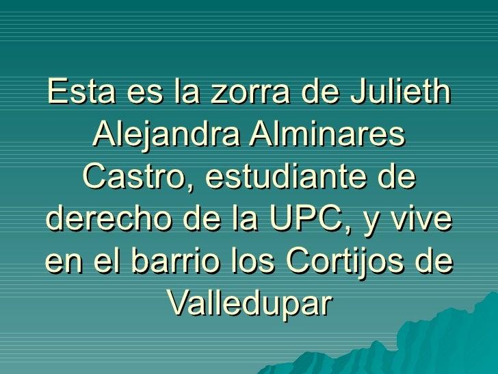 Esta es la zorra de Julieth Alejandra Alminares Castro, estudiante de derecho de la UPC, y vive en el barrio los Cortijos ...