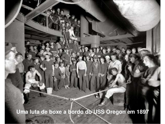 Uma luta de boxe a bordo do USS Oregon em 1897