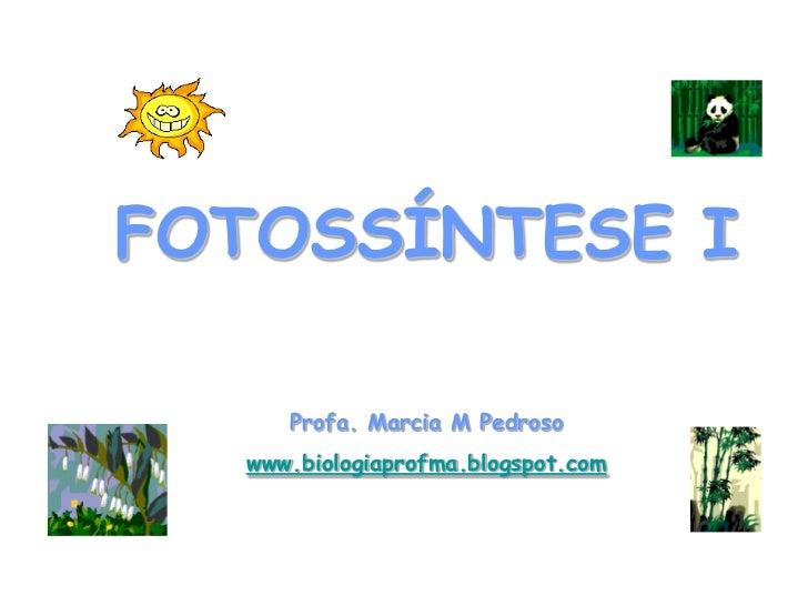 FOTOSSÍNTESE I     Profa. Marcia M Pedroso  www.biologiaprofma.blogspot.com