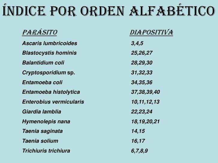 Índice por orden ALFABÉTICO   Parásito                  Diapositiva   Ascaris lumbricoides      3,4,5   Blastocystis homin...