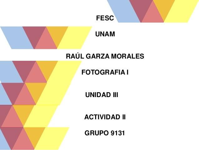 FESC UNAM RAÚL GARZA MORALES FOTOGRAFIA I UNIDAD III ACTIVIDAD II GRUPO 9131