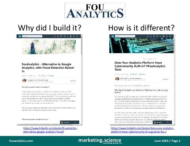 FouAnalytics DIY site media analytics fraud detection baked in Slide 3