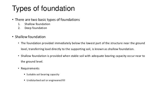 Foundation Foundations types