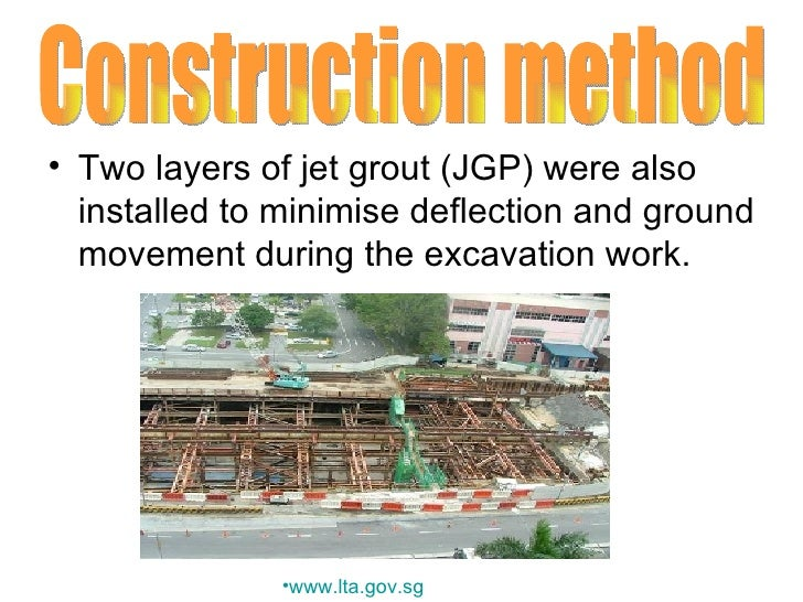 <ul><li>Two layers of jet grout (JGP) were also installed to minimise deflection and ground movement during the excavation...