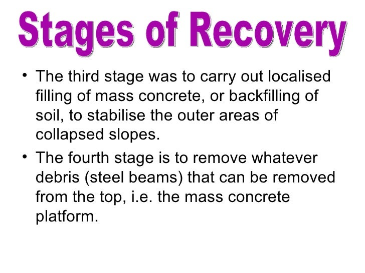 <ul><li>The third stage was to carry out localised filling of mass concrete, or backfilling of soil, to stabilise the oute...