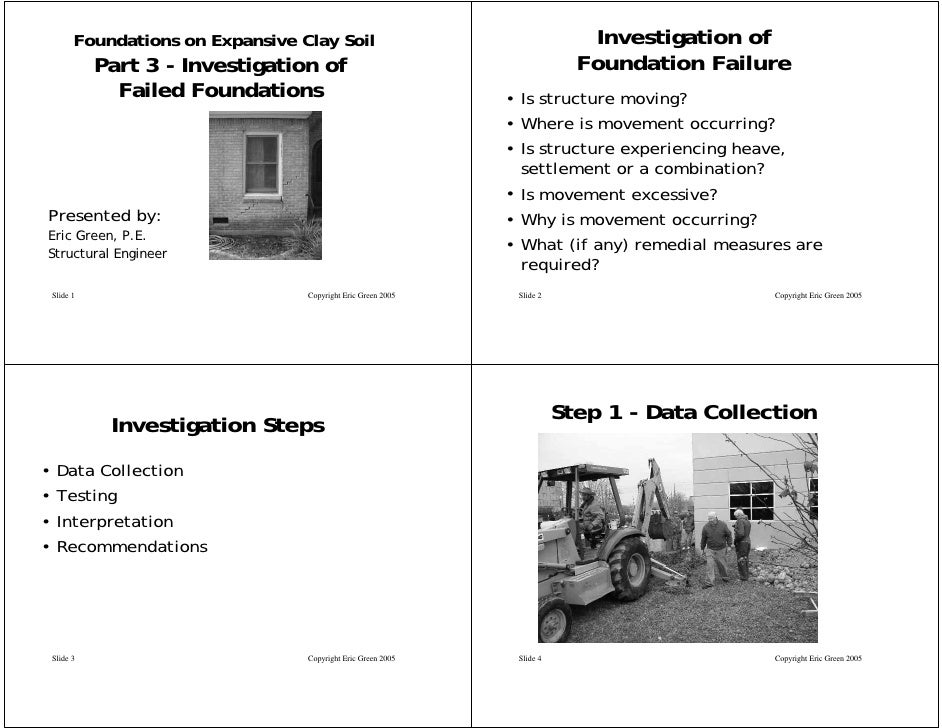 Foundations on Expansive Clay Soil                                  Investigation of               Part 3 - Investigation ...