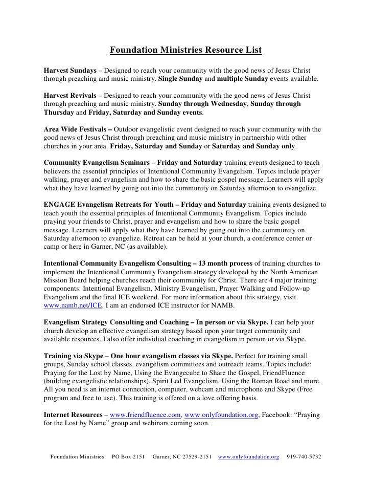Foundation Ministries Resource List