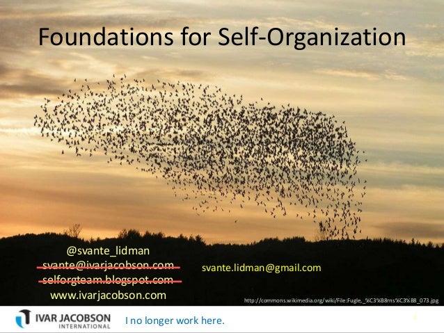 Foundations for Self-Organization     @svante_lidmansvante@ivarjacobson.com         svante.lidman@gmail.comselforgteam.blo...